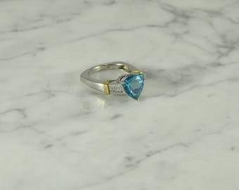 Apatite/Diamond/14K Gold Ring ( size 7 )