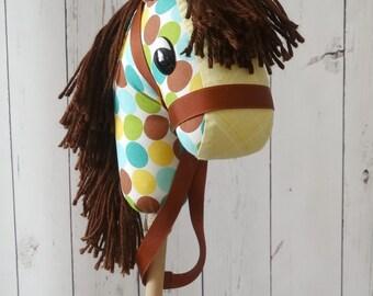 Stick Horse!Hobby Horse!Handmade Baby Stick Horse!Cowboy Baby! 12-20 months !Great Birthday present !Stocking Stuffer! Small Stick Horse !