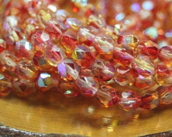 Czech Glass Beads, 6mm Firepolish, Faceted Round, 30 Beads