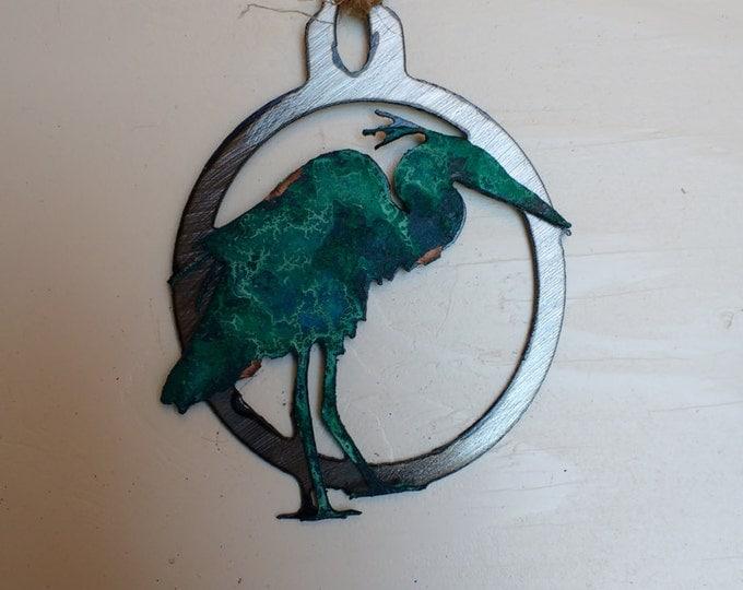 Patina Blue Heron Ornament