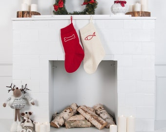 Personalized Handmade Pet Stocking, Dog stocking, Cat stocking, Knitted Christmas Stockings with handmade embroidery, Monogrammed Stockings
