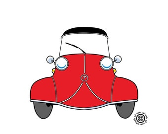 MESSERSCHMIT kr200 T-SHIRT! microcar T-shirt! Choice of four different car and shirt colors Original art by Wheels All Over