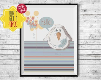 Penguin gift, Cute animals poster, Nursery decor, Kids room art, Animal print, Hello sign, Quote canvas, Colorful wall art, Playroom decor