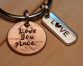Love You Since Lucky Penny Key Chain Gift/Love Bar Charm/Valentines Day/Anniversary/Husband/Wife/Girlfriend/Boyfriend Gifts/Keychain Gifts