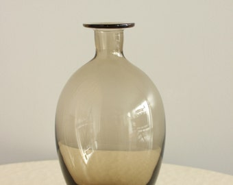 Vintage Smokey Glass Bottle Decanter, Flower Vase, Mid Century Modern