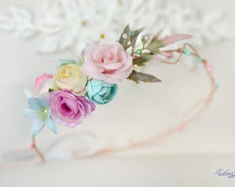 Pastel Flower crown Cream lilac head piece Floral bridal crown Flower Girl spring wedding head wreath crystal flowers hair dress mint pink