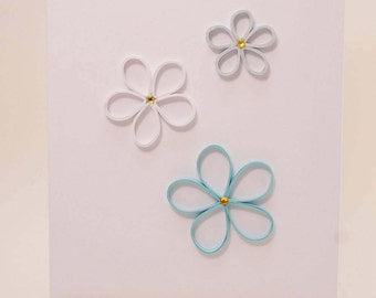 quilled card, flower card, handmade card, quilling art, quilling paper art, greeting card, blank card, flower card, mothers day card