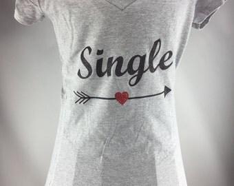 Single/ Taken v neck tshirt with heart arrow