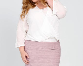 NICOLA Plus Size Pencil Skirt, Curvy Stretch Knit, Pink Textured Knit, Slim Straight Skirt, Career wear