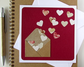 Handmade Valentine's Card - Wedding Card - Heart Envelope - Romantic Card - Love Card - Anniversary Card - Female Birthday Card - Vintage