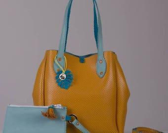 Leather Bag-Womens Leather Bag-Leather Handbag-Yellow Leather Bag-Handmade Bag
