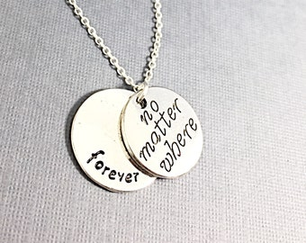 925 Sterling Silver,No matter where necklace, distance charm necklace, no matter where charm pendant, personalized, customized, initial,gift