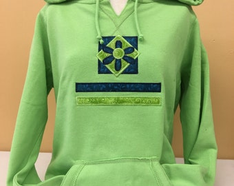 Green V Neck Pullover Hoodie Plus Size