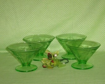 Green Rose Cameo Sherbets