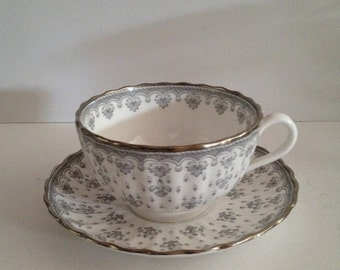 Spode Y7515 Fleur de Lys Grey with Platinum Trim Flat Cup and Saucer Set - Made in England; New Vintage