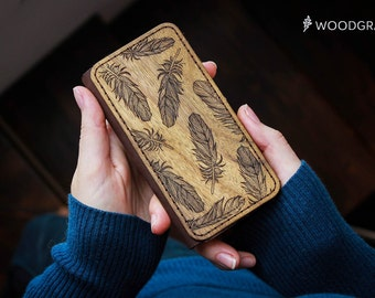 Feather Leather iPhone 5S Wallet Case Wood Personalized gift Engraved iPhone 6s case iPhone 6s Plus Case Wallet iPhone 7 womens gift for her