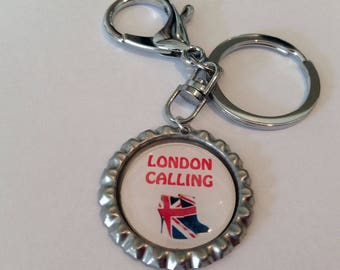 Bottle Top Key Ring Key Chain with Union Jack detail London Calling complete with gift tin Perfect Gift or Accessory Handmade Gift