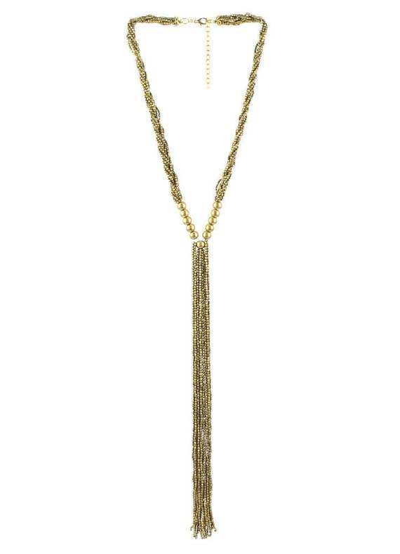 Lariat Necklace, Brass Bead Y Necklace, Ethnic Jewelry, Tribal, Festival, Hippie, Gypsy, Boho, Bohemian