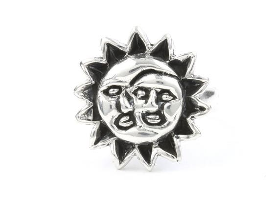 Sun and Moon Ring, Sterling Silver Moon Ring, 925, Sun Ring, Cosmic, Boho, Gypsy, Wicca, Festival Jewelry, Hippie Jewelry, Spiritual