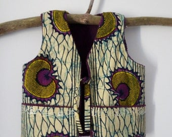Waistcoat without sleeves in wax, purple polar double - 4 years