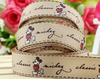 """5/8"""" Mickey Mouse Grosgrain Ribbon by the Yard   R17"""