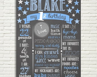 "First Birthday Chalkboard Sign 16x20"" Poster Twinkle Twinkle Little Star Blue Silver or *Choose Your Own Colors*  Digital File ONLY"