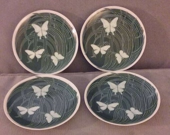 """From Japan: Pristine 1950's Set Of Four  7 1/2"""" Neiman-Marcus Green Butterfly Salad Plates, Perfect Condition"""