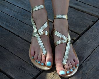 Gold Sandals, Ankle Strap Greek Sandals ''Nephele'', Gold Summer Sandals, Thong Leather Sandals, Greek Strappy Sandals
