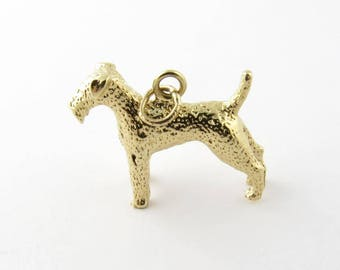 Vintage 14K Yellow Gold Airdale Terrier Dog Charm #919