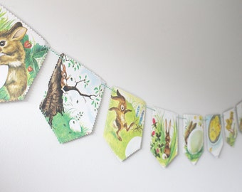 Recycled Book Bunting - The Golden Egg Book - Nursery or Party Decoration