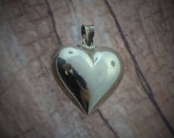 Vintage Hollow  Silver Heart Pendant- Sterling Silver