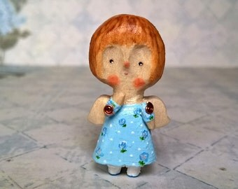 Collectible miniature wooden doll Wood angel Dollhouse doll Tiny wooden toy Cute small doll Angel gift Mini toy doll Ginger little doll 4 cm