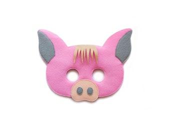 PIG Felt Mask - Pink Piggy Mask - Toddler Adult Mask - Pretend play costume - Farm animal costume - Kids Dress up - Peppa Pig inspired mask
