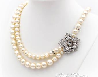 Wedding Necklace bridesmaid necklace Swarovski Pearl Rhinestone necklace Bridal Necklace Wedding Jewelry Bride Wedding accessories rose