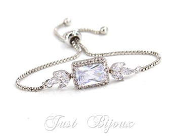 Wedding Bracelet Platinum plated Zirconia Bracelet Wedding Bracelet Zirconia Bracelet Wedding Jewelry Bridal CZ Bracelet Bridal Jewelry Val