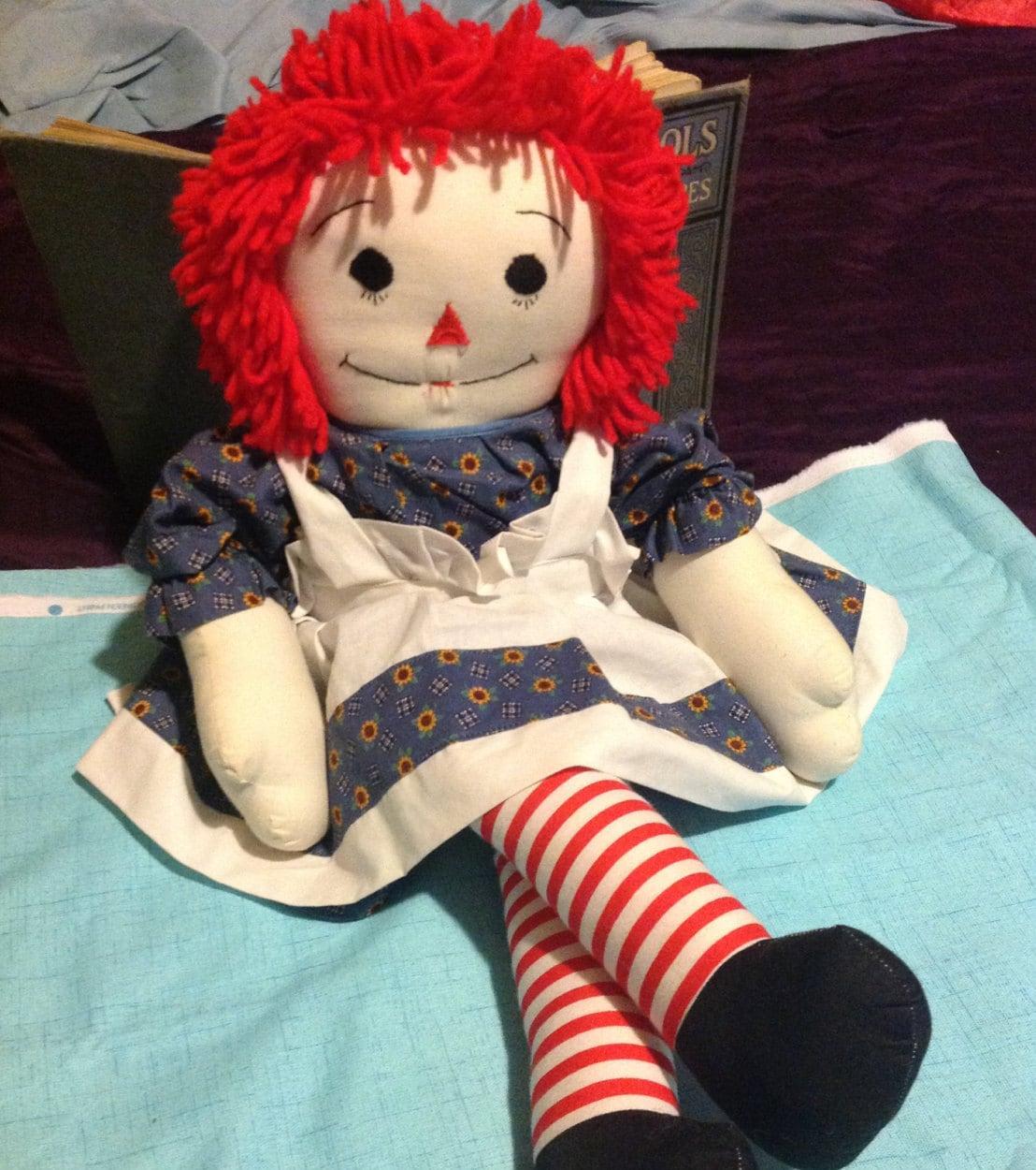 Large Vintage Raggedy Ann Doll 26 Yarn Haired Raggedy