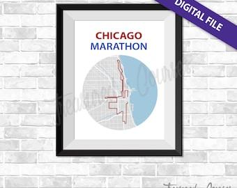 Chicago Marathon - Digital Download - Race Map, World Marathon Majors, GPS Map, Running Map, Course Route, Race Results