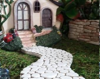 Fairy Garden Miniature WALKWAY (Resin) for your Fairy Garden, Fairy Garden Accessories, Miniature Curvy White Cobble Stone Look Walkway