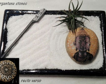 KARESANSUI, mini ZEN GARDEN with air plant (tilldsia) and stone decorated duplex with mandala and Buddha on ceramic base