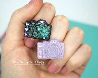Camera Ring, Photographer Gift, Glitter Resin Ring, Galaxy Glitter Nebula, Quirky Jewelry, Statement Ring, Kawaii Resin Ring, Camera Lover