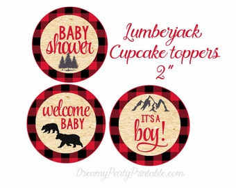 Lumberjack Baby Shower Cupcake Toppers, Lumberjack baby shower decorations, Lumberjack Shower, Digital file.