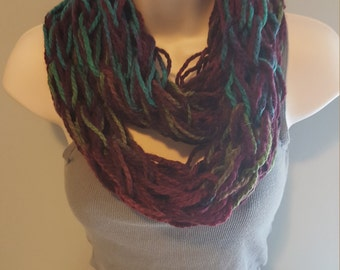 Teal & Purple Blend Arm Knit Infinity Scarf