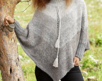 Knitted poncho, knitted poncho, winter poncho, alpaca, silk, Ombre