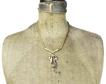 Gold Bow Necklace, Gold Bow Pendant Necklace, Gold Snake Chain Necklace, Thick Gold Chain Necklace