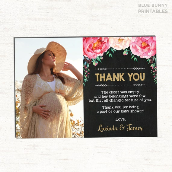 Floral Baby Shower Thank You Card Vintage Flowers Custom Thank You