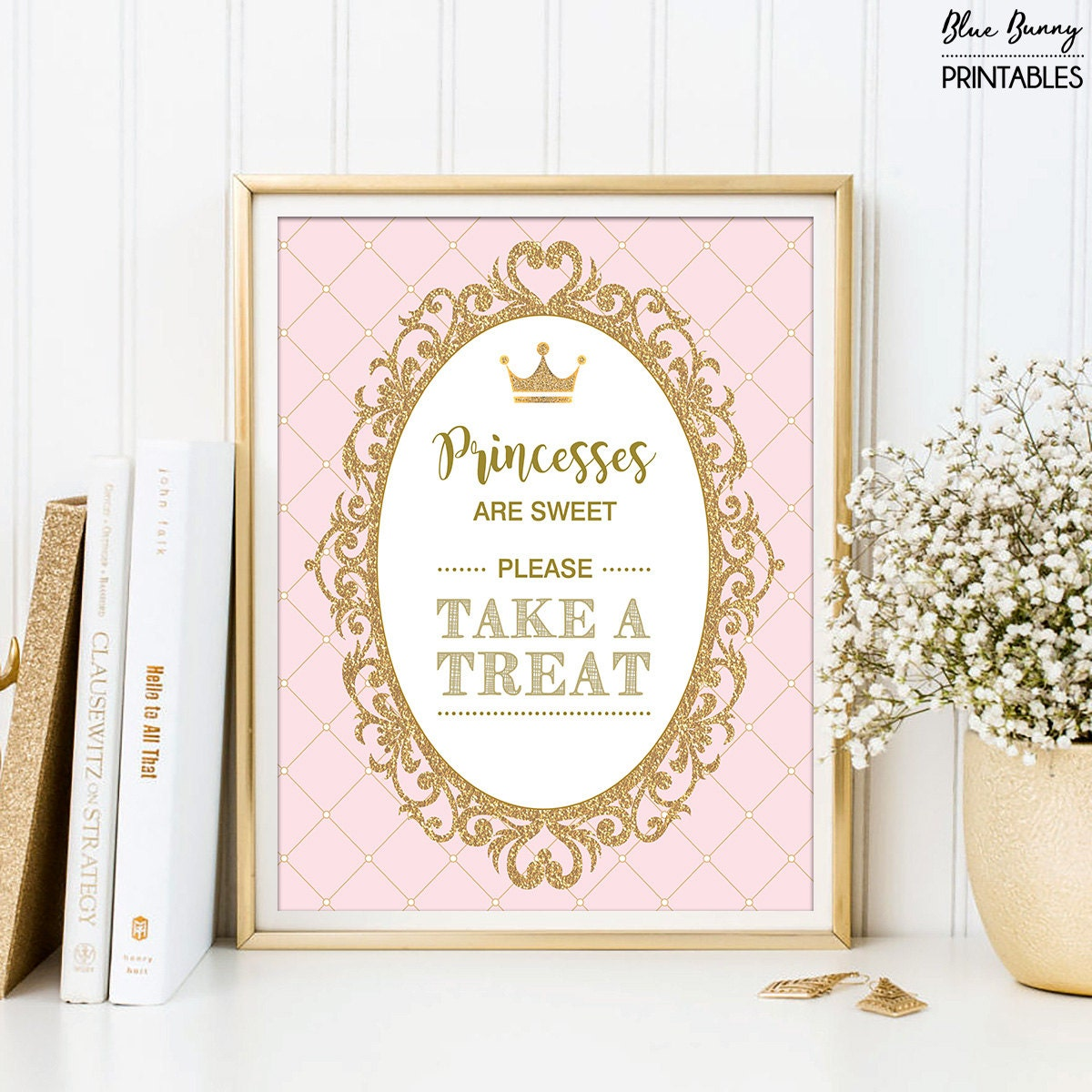 princesses are sweet please take a treat pink and gold royal princess baby shower decoration
