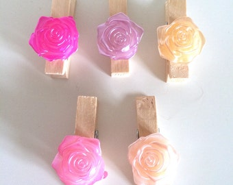 5 Decorative Mini Pegs ~ Flower Mini Pegs ~ Mini Clothes Pegs ~ Decorative Clothes Pegs ~ Mini Clothes Pegs ~ Wooden Mini Pegs ~ Card Making