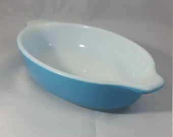 1970s Horizon Blue Pyrex Casserole Dish 700 - 10 oz. Cooking for Two.