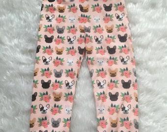 Baby girl puppy leggings, dog leggings, floral leggings, infant leggings, baby leggings, toddler leggings