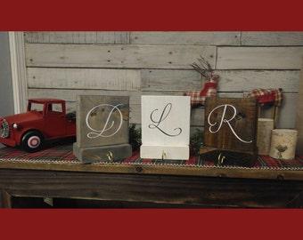 "Christmas Rustic Wood Monogram Stocking Holders 8"" x 6"" Decor / Holiday / monogram / name / personalized  / initial / names/ hanger holder"